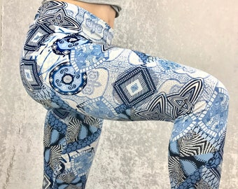 Blues Funky Beats ~ High-Waisted Lovely Leggings by So-Fine