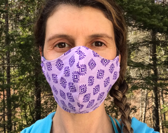 So-Fine® Mask - Purple Flower Print & Blue-Grey