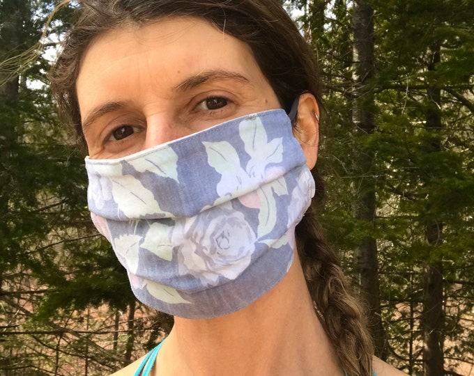 Quick Trip Mask - Floral & Light Blue Squares