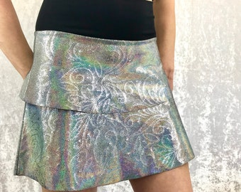 Hologram Floral Sparkle skirt with Bamboo waistband by So-Fine