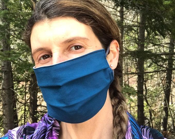 Quick Trip Mask - Teal & Light Blue Squares