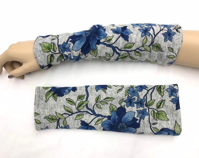 Blue Floral Sweater Knit Arm Warmers lined Bamboo Terry