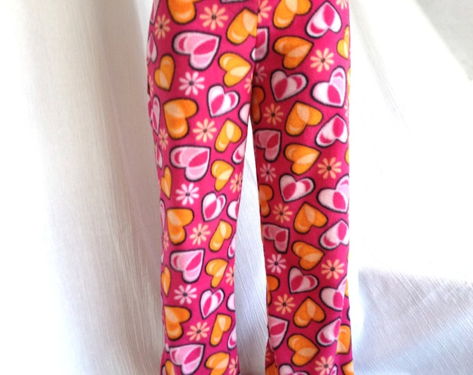 Pink and Coral Hearts w Black Bamboo Party Pyjama Pants by So-Fine