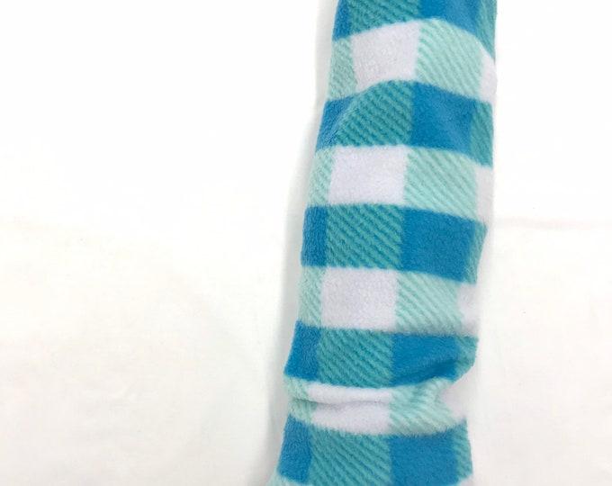 Blue and White Plaid Fleece Cozy Leg Warmers