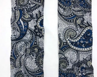 Blue Paisley sweater knit leg warmers lined with Bamboo Terry