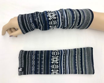 Blue Aztec Sweater Knit Arm Warmers lined Bamboo Terry