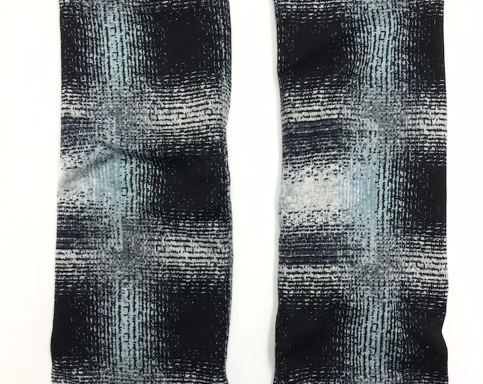 Martine Plaid sweater knit leg warmers lined with Bamboo Terry