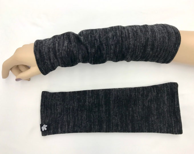 Heather-Black Sweater Knit Arm Warmers lined Bamboo Terry