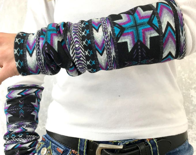 Funky Aztec Sweater Knit Arm Warmers lined w Black Bamboo Terry by So-Fine