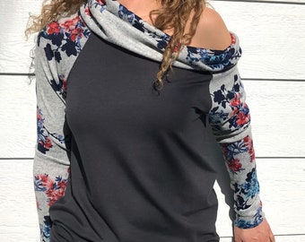 Grey Bamboo Terry with Butterfly Sweater Knit Cozy Raglan
