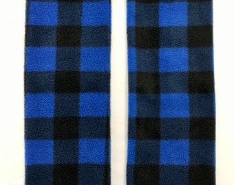 Blue and Black Plaid Fleece Cozy Leg Warmers