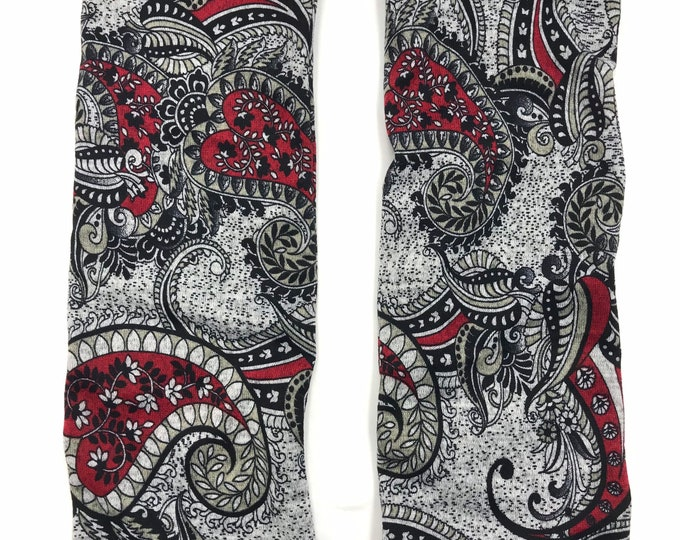 Red Paisley sweater knit leg warmers lined with Bamboo Terry
