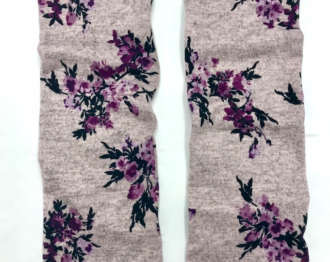 Cherry Blossoms sweater knit leg warmers lined with Bamboo Terry