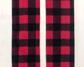 Red and Black Plaid Fleece Cozy Leg Warmers