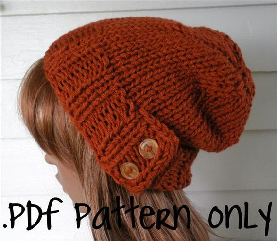Knitting Pattern Knit Hat Pattern Easy Slouchy Beanie Beret Etsy
