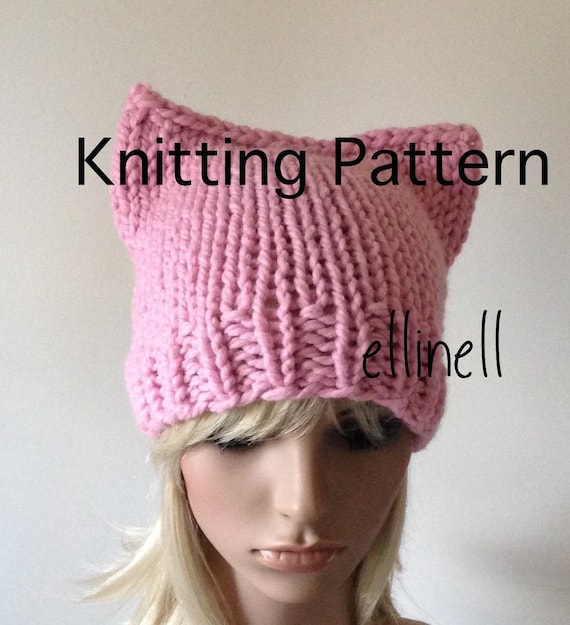 Knitting Pattern Pussy Hat Diy Not A Completed Hat Kitty Etsy