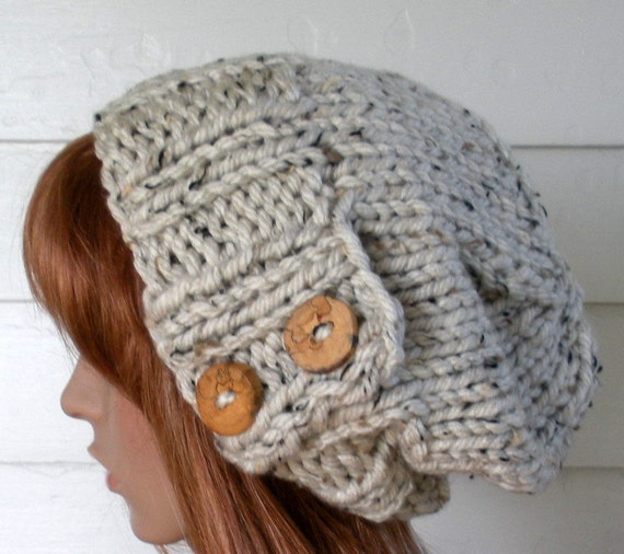 Knit Slouchy Beanie Pattern Chunky Knit Hat Pattern Easy Etsy