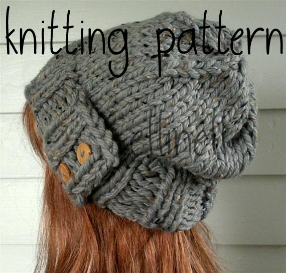 Knit Hat Pattern Easy Slouchy Beanie Beret Instant Download Etsy