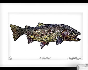 Archival Cutthroat Trout Zentangle Limited Edition Giclee Print 11x17
