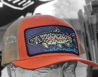 Embroidered Rainbow Trout Patch Trucker Hat