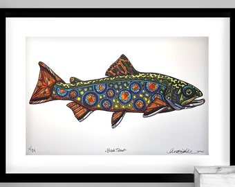 Archival Brook Trout  Limited Edition Giclee Print 11x17