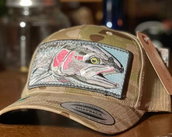 Custom Limited Embroidered Steelhead Patch Trucker Hat Arid Camo