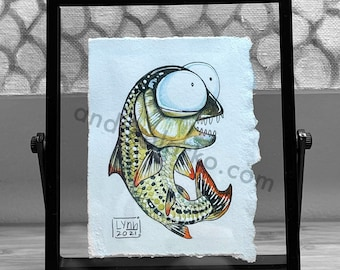 Toothy Tigerfish Original Miniture Framed Watercolor Painting