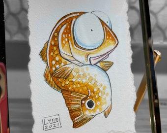 Ravenous Redfish Original Miniture Framed Watercolor Painting