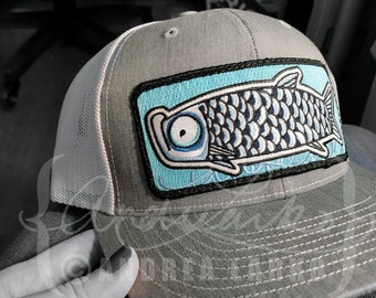 a35dde1c0a27f Embroidered Doodle Tarpon Patch Trucker Hat