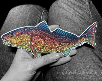 Sunset Redfish Zentangle Laminated Die Cut 3M Vinyl Decal