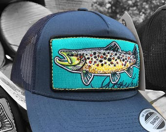 04fe799a14130 Embroidered Brown Trout Patch Trucker Hat