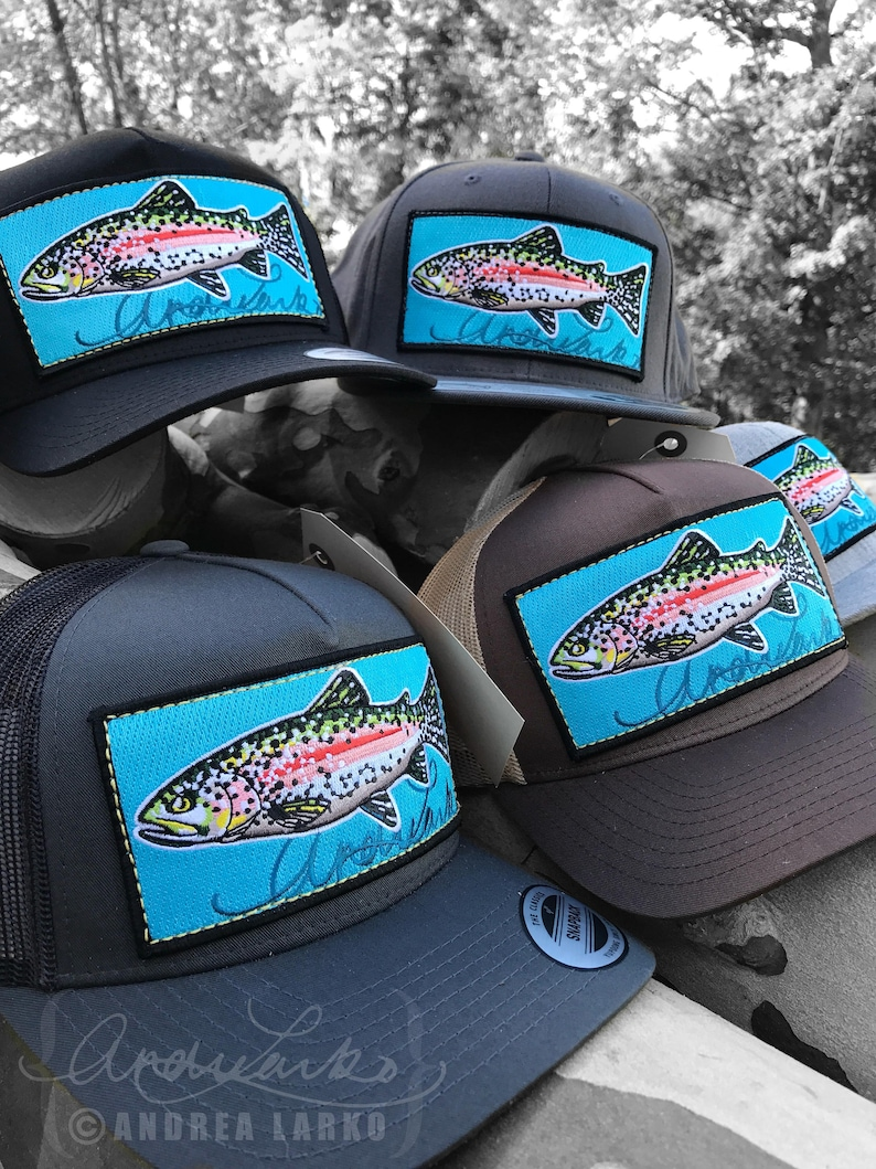 6baeb02472a64 Embroidered Rainbow Trout Patch Hat