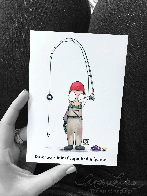 Bob-Fliegenfischen-Cartoon-Serie Nymphing Kunstdruck 5 x   Etsy