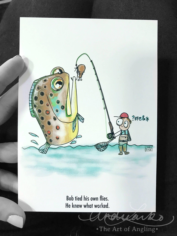 Bob Fliege Fischen-Cartoon-Serie-Huhn fliegen Kunstdruck 5   Etsy