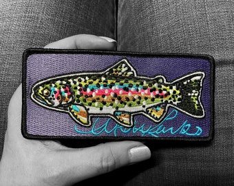"""Embroidered Rainbow Trout Iron On Fish Art Patch 5.5""""x2.5"""""""