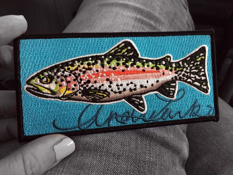 22e97149d6907 Embroidered Rainbow Trout Iron On Fish Art Patch