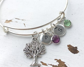 Birthstones and initials bracelet with tree charm  Mothers bracelet Grandmother bracelet