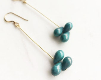 Blue Drop Earrings, blue and gold drop earrings, dangle earrings, turquoise drops, gift for mom, mother's day gift, everyday earrings