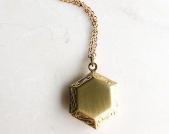 Gold hexagon locket, modern tiny locket, small photo locket, antique gold locket