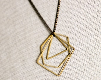 Boho jewelry triangle Necklace Geometric Minimalist Necklace Shapes Necklace, Gift for Girlfriend layering Necklace hexagon Necklace