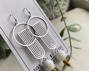 Silver drop earrings, Art Deco jewelry, laser cut, yellow drop earrings