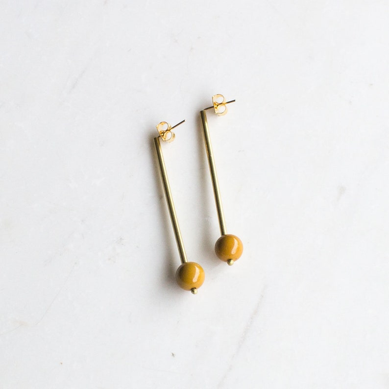 Long yellow and gold drop earrings long minimalist statement image 0
