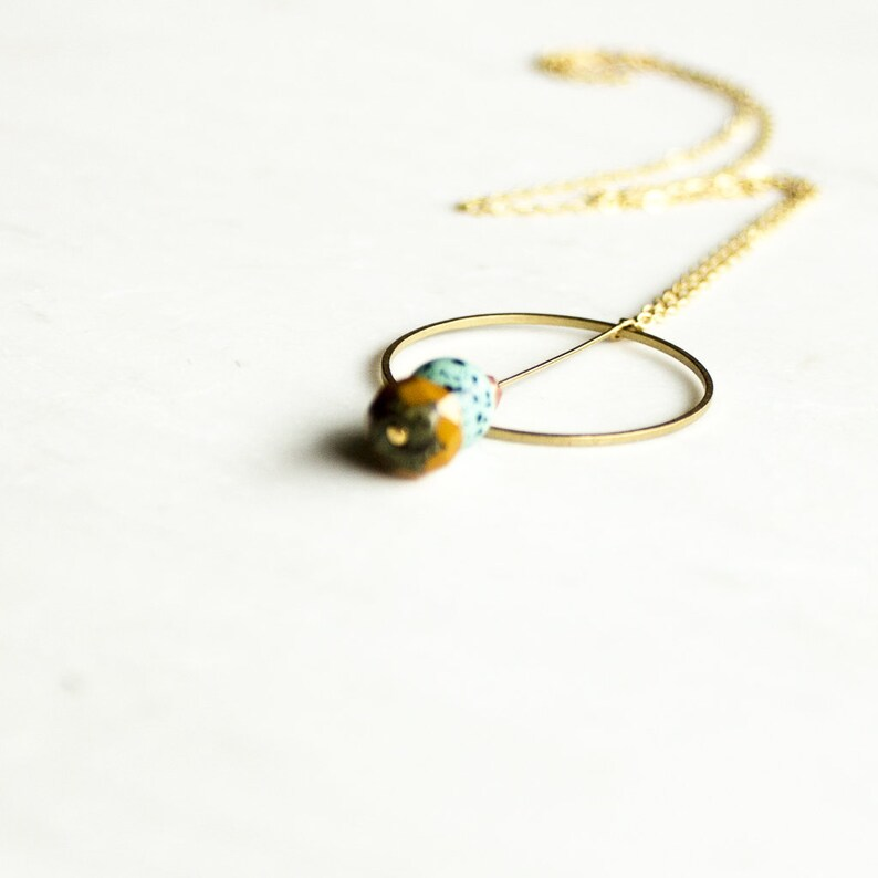 Long circle pendant necklace layering necklace beaded image 0
