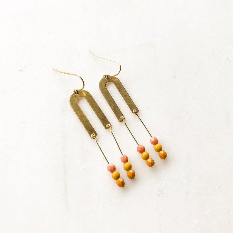 U Drop Earrings Arched earrings rainbow earrings Beaded image 0