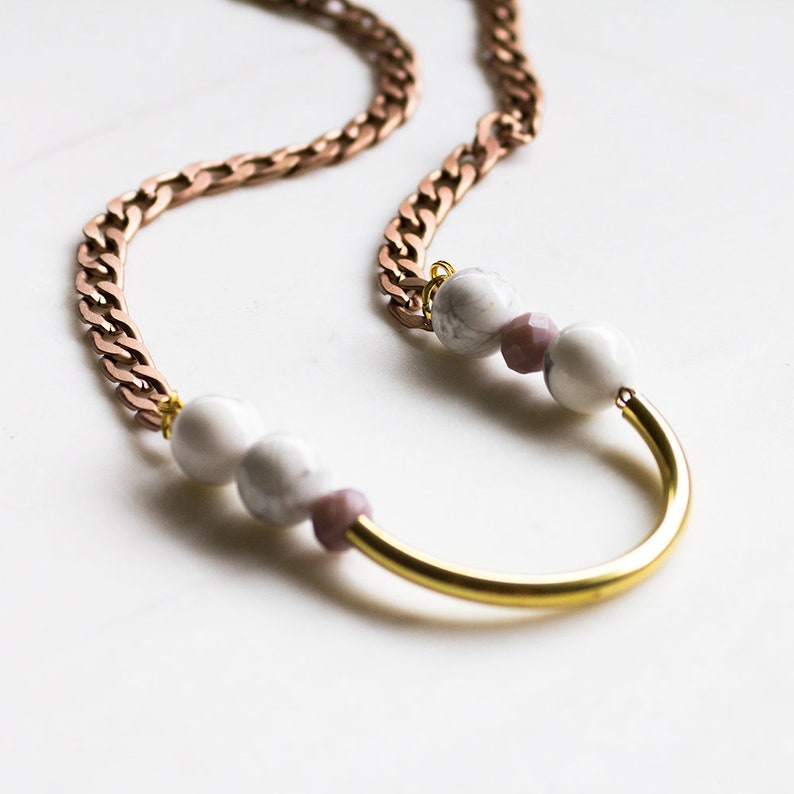 Long Boho Statement Necklace Rose gold chain necklace marble image 0