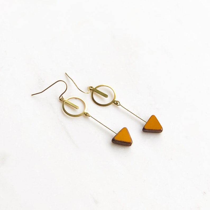Orange triangle earrings dangle triangle earrings orange image 0