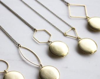 Gold locket, Geometric Lockets, locket necklace, Gold modern locket, Modern locket, gift for her, Personalized Gift, photo locket, Christmas