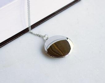 Modern Silver Locket, large locket, silver photo locket, personalized locket necklace