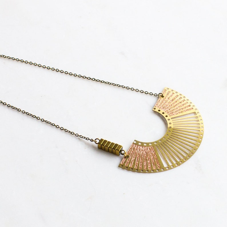 Boho Half Circle Necklace asymmetrical necklace Gold and image 0