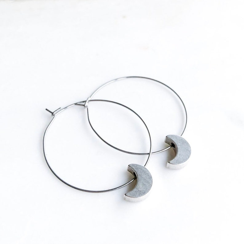 Silver Crescent Moon Hoop Earrings Celestial jewelry gold Silver Moon/Hoop